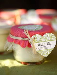 Thank you candles as wedding favours