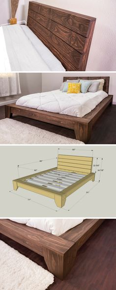 Build yourself this beautiful platform bed and you're sure to have sweet dreams. It offers a sophisticated style you'd pay big bucks for in a store, but this bed is easy and economical to build. It's made from pine boards you can get at any home center that can be stained for any look you'd like. Get the free DIY plans at buildsomething.com #woodworking Pallet, Palette, Wood Pallets, Pallets