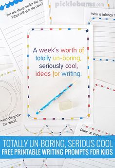 Printable Writing Prompts for Kids Totally un-boring, seriously cool, free printable writing prompts for kids! Get your kids writing!Totally un-boring, seriously cool, free printable writing prompts for kids! Get your kids writing! Writing Prompts For Writers, Picture Writing Prompts, Writing Workshop, Writing Resources, Kids Writing, Teaching Writing, Writing Skills, Writing Ideas, Writing Binder