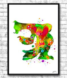 Sid from Ice Age Watercolor print Children's room by ArtsPrint