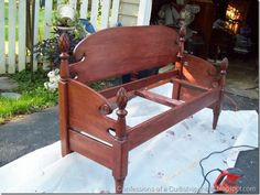 bench from bed frame. It's a pretty little bench! Furniture Projects, Furniture Makeover, Home Projects, Home Furniture, Furniture Design, Bed Frame Bench, Headboard Benches, Crib Bench, Repurposed Furniture