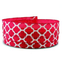 Moroccan Print Dark Pink and White Satin Wired Ribbon 9 - 1.5in x 10yards *** See this great product.