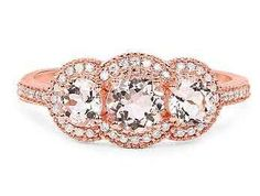 14K Rose Gold Natural 1.04TCW Round Cut Peach Morganite & White Diamonds French Pave Halo Ring