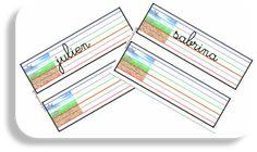 Prénom en cursive avec lignage de couleur