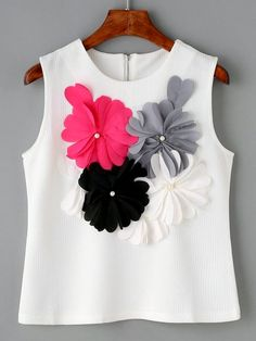 SheIn offers White Flower Applique Sleeveless Textured Top & more to fit your fashionable needs. Look Fashion, Diy Fashion, Fashion Clothes, Fashion Dresses, Womens Fashion, Fashion Design, Woman Outfits, Kids Outfits, Cute Outfits