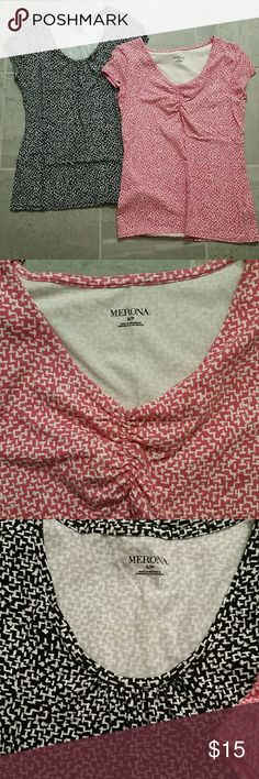 Bundle of Merona tees Two Merona tees. Same print different neck line. The pink is gathered the black is swoop neck. Same print. Great condition Merona Tops Tees - Short Sleeve