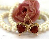 Gold Earrings.Love. Gold heart earrings. Gold earrings.  love earrings. hand made with love.  gold hart earrings. Roze Gold 9k. Brown korneo https://www.etsy.com/il-en/shop/Oritwolf?ref=hdr_shop_menu