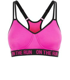 Pink On The Run Print Non Wired Sports Bra   New Look