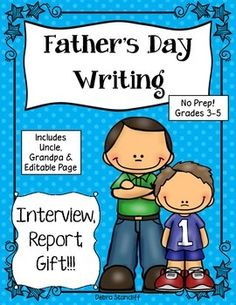 Student's love their dad and love writing about him. So why not use this as an informational writing piece and a great gift to give to Dad. $ My students love to write informational text, but completing the research is challenging at times. For this piece of writing the students will interview their father at home. The research is the questions and answers!!! Piece of cake!!  This includes Grandpa, Grandfather, Uncle, and a blank editable page so you can personalize any special title…