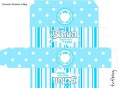 Light Blue Crown in Stripes and Polka Dots  Free Printable Boxes for a Quinceanera Party. Quinceanera Decorations, Quinceanera Party, Printable Box, Free Printables, Birthday Party Decorations, Party Favors, Nail Polish Box, Dots Free, Box Invitations