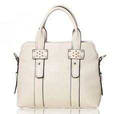 Trendy leren tas. De tas heeft mooie stiksels en studs. Top handgrepen met afneembare en verstelbare schouderriem. Ideaal voor dagelijks gebruik.