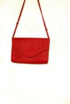 Red Straw Bag For Summer, Beach, Vintage Woven Handbag, Red Envelope Purse, Shoulder Bag