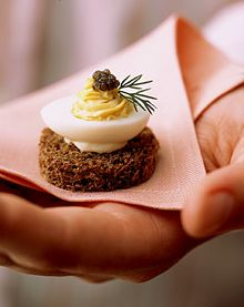 canapes elegant deviled egg on rye bread weddings events parties