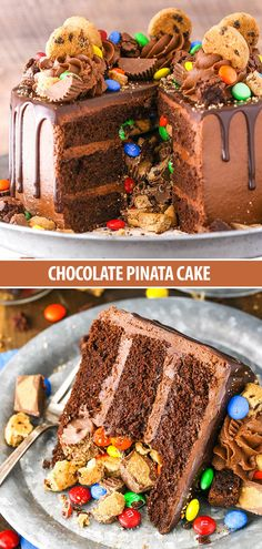 This Chocolate Piñata Cake is a moist chocolate cake frosted with classic chocolate buttercream and filled to the brim with awesome goodies - Reese's, M&Ms and chocolate chip cookies! Chocolate Chip Cookies, Chocolate Pinata, Chocolate Cake Frosting, Chocolate Chip Cookie Cake, Kids Chocolate Cake, Choco Chocolate, Chocolate Recipes, Baking Recipes, Cake Recipes
