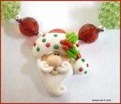 NEW Polymer Clay Polkadot Santa Beaded Bubblegum Chunky Necklace. $22.50, via Etsy.