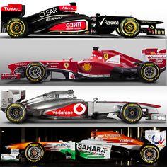 f1 el Lotus E21, la Ferrari F138, el McLaren MP4-28, el Force India VJM06