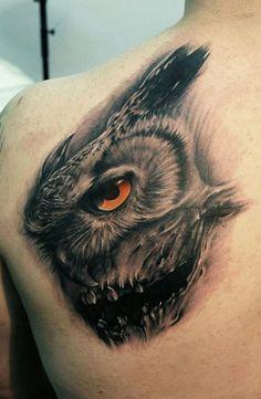 Owl Tattoo Face Profile (Skull) By Bacanu Bogdan