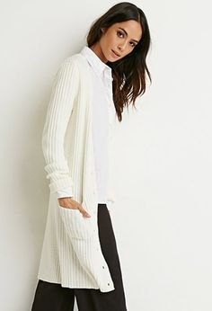 Ribbed Knit Longline Cardigan | Forever 21 - 2000154549