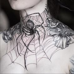 Black tattoo Women's neck spider