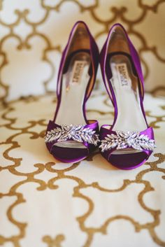 Purple Badgley Mischka heels: http://www.stylemepretty.com/illinois-weddings/bloomington-illinois/2013/12/13/bloomington-country-club-wedding/ | Photography: Rachel Schirano - http://rachaelschirano.com/