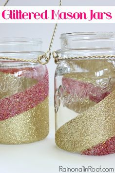 How to Glitter Mason Jars in 30 Minutes or Less | Want to update the look of your mason jars a bit? Learn how to glitter mason jars in 30 minutes or less. These are perfect for lanterns!