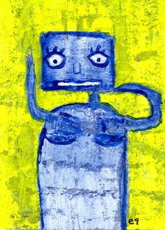 simply irresistible e9Art ACEO Abstract Outsider Folk Art Brut Painting Eclectic Unique One of a Kind