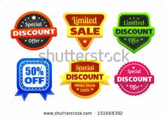 Six colorful discount and limited sale badges made in vector.