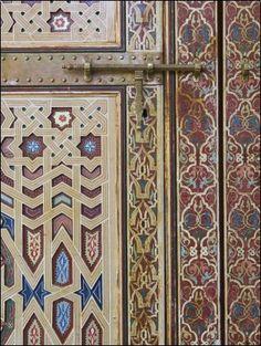 Door Detail, Zawiya Moulay Ali Ash-Sharif Mosque, Tafilalt, Rissani, Morocco Walter Bibikow ~ Photographer.