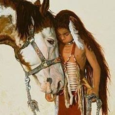 Little Native American boy & horse art Native American Horses, Native American Children, Native American Paintings, Native American Pictures, Native American Beauty, American Indian Art, Native American History, American Indians, Native Child