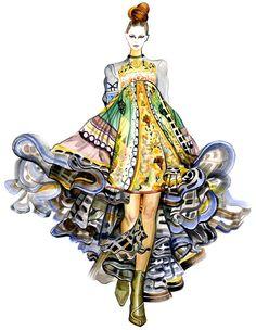 This is beautiful. Runway Fashion Illustration Mary Katrantzou by sunnygu on Etsy Fashion Illustration Techniques, Fashion Illustration Sketches, Illustration Mode, Fashion Sketchbook, Fashion Design Sketches, Drawing Fashion, Fashion Design Illustrations, Fashion Portfolio Layout, Fashion Designers