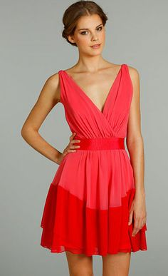 short coral bridesmaid dresses- I can imagine this with a silver chain and teal pendant of some type and maybe a teal beaded bracelet. Would be so stunning and on chans body...she would look amazing