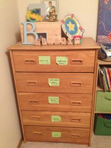 Help kids make labels for their drawers so they can help put away clean laundry.  Use pictures for small kids, words for readers. Use this site for tons of great kid-friendly tips that really work.