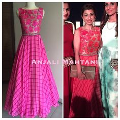 anjali mahtani-pretty pink fusion dress Indian Gowns, Indian Attire, Indian Ethnic Wear, Pakistani Dresses, Indian Outfits, Sari Design, Frock Design, Lavender Color Dress, Ethnic Trends