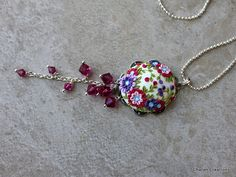 Lovely Polymer Clay Floral Applique Pendant by charancreations