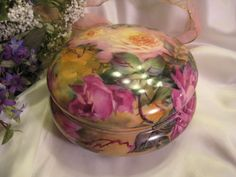 Gorgeous Limoges France Outstanding Large French Porcelain Jewel Box Powder Dresser Jar with Gorgeous Hand Painted Roses Circa 1900