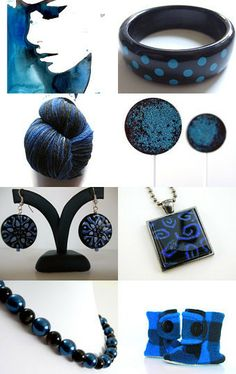 My vintage black and blue polka dot bangle is featured in this treasury! Midnight Skies by Meredith on Etsy--Pinned with TreasuryPin.com