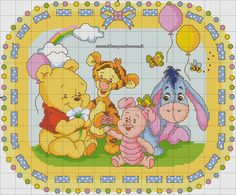 schema punto croce Baby Pooh and friends