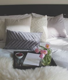 Brondby bed decorated with deco cushions, Thank you for sharing Elizabeth Printed Cushions, Bed Duvet Covers, Bed & Bath, Bed Pillows, Mornings, Online Shopping, Bedding, Sunday, Domingo
