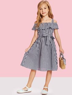 Shop Girls Flounce Cold Shoulder Gingham Dress with Belt online. SHEIN offers Girls Flounce Cold Shoulder Gingham Dress with Belt & more to fit your fashionable needs. Fit N Flare Dress, Dresses Kids Girl, Kids Outfits, Cute Outfits, Stylish Outfits, Fashion Kids, Fashion Outfits, Men Fashion, Kids Fashion