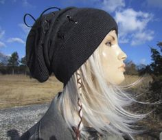 b2aa4a8b24b25 Bohemian Clothing Women s Slouch Tams Striped Slouchy Beanies Black Gray  Stripe Cashmere Cotton Knit Hat Leather Corset Lace Tie C by Vacationhouse  on Etsy