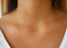 Minimale Gold Collier Stardust Bead Kette 14 K Gold von annikabella