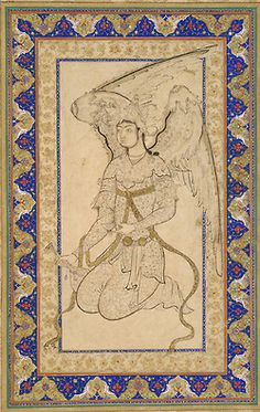A Peri, a winged celestial creature, a popular subjects in Ottoman and Persian art of the time.  This composition typifies a distinct style of Ottoman drawing that combines sweeping, calligraphic lines with soft, feathery strokes, as is evident in the minute designs on the figure's robe, cup, and bottle and light washes. Shah Quli.  Prob. Istanbul, Turkey, mid-16th C.