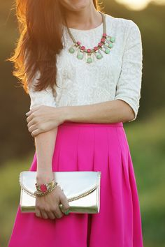 Sarah Vickers in a J Crew blouse and skirt with a Lilly Pulitzer skirt and Loren Hope jewelry