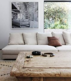 beautiful mix of rustic contemporary furniture for the living room - ÁBATON Offices / Showroom by ÁBATON Arquitectura Love coffee table Decor, House Design, Home And Living, Furniture, Home Living Room, Interior, Dream Spaces, House Interior, Coffee Table
