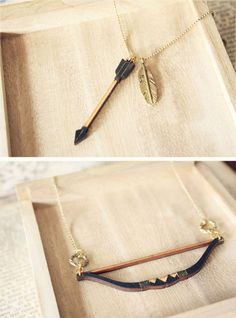 Geometric Bow And Arrow Layered Necklace - Hunger Games Inspired on Luulla