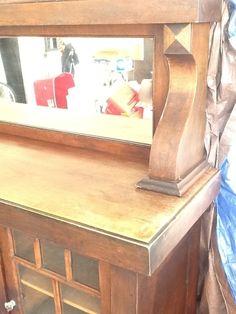Antique Mission Oak Buffet Wood Sideboard Mirror Top Vintag Cabinet Hutch Server | eBay