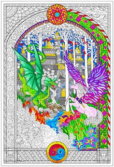 A gorgeous giant coloring page for adults.