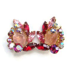 Vintage Beau Jewels Ruby Red Pink Aurora Borealis by redroselady