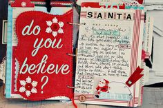 December Daily page inspiration - felt shaped page cut with pinking shears, journaling page