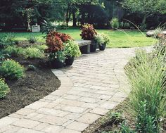hardscape walkway with bench - Google Search